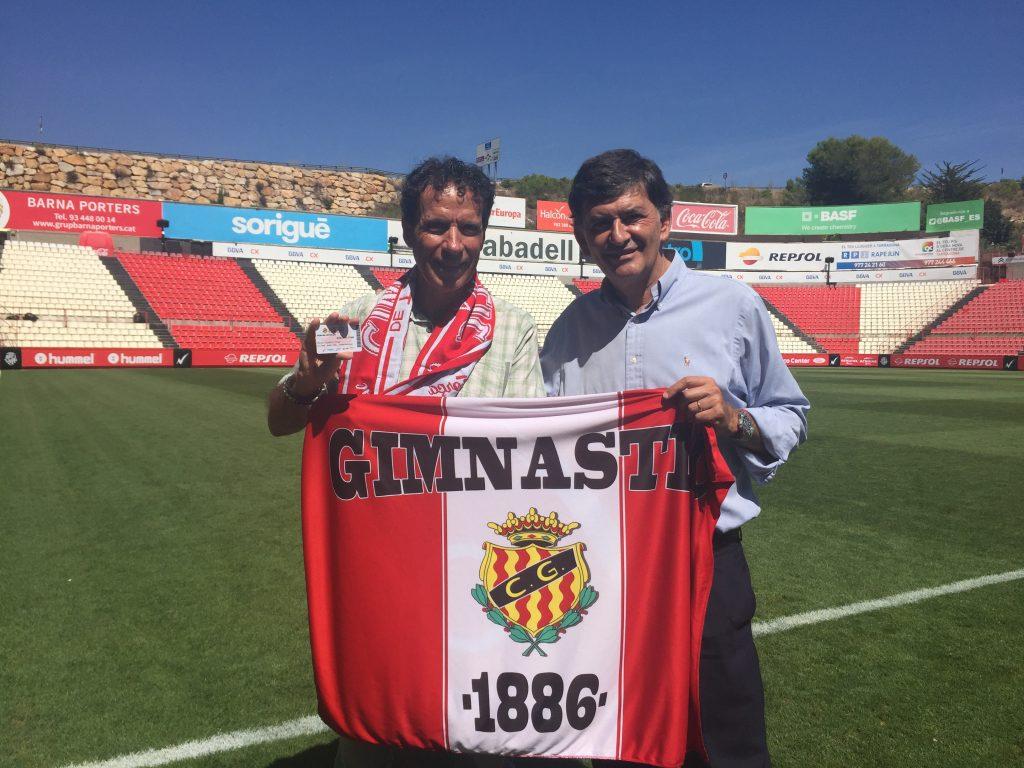 El president del Nàstic i de la SAD, Josep Maria Andreu i Òscar Cadiach al Nou Estadi