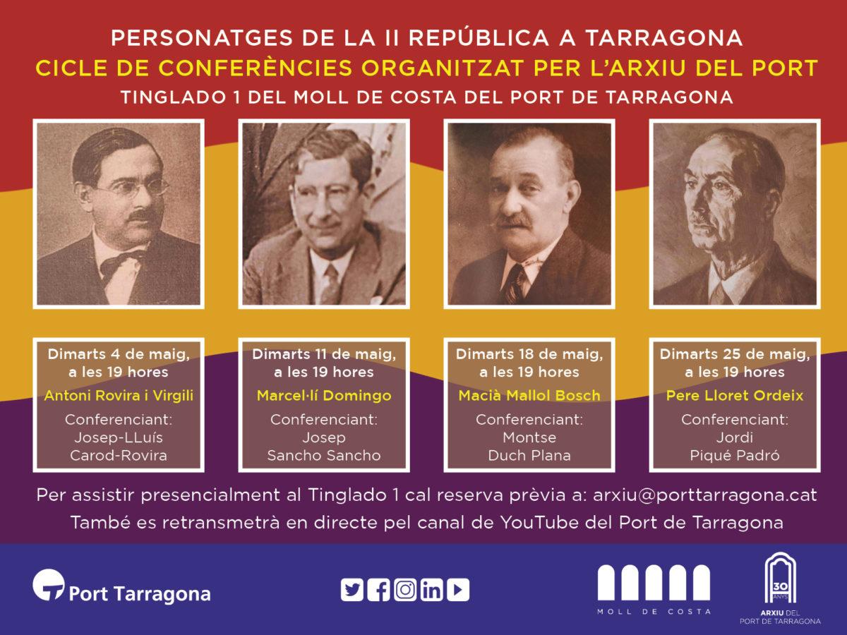 Cartell que anuncia el cicle de conferències 'personatges de la república'