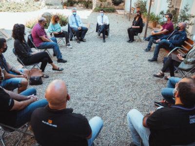 Pla general d'un moment de la reunió del president de la Generalitat, Pere Aragonès, amb representants de les colles castelleres de Tarragona. Imatge del 12 d'octubre de 2021. (Horitzontal)